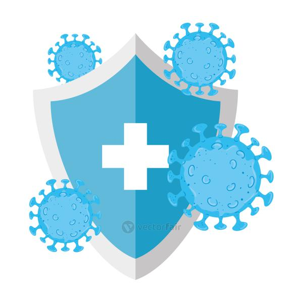 shield with covid 19 virus vector design
