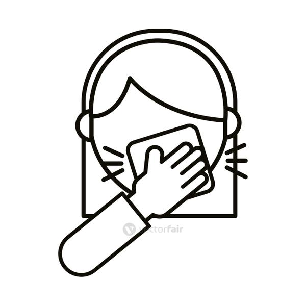 woman coughing in handkerchief line style