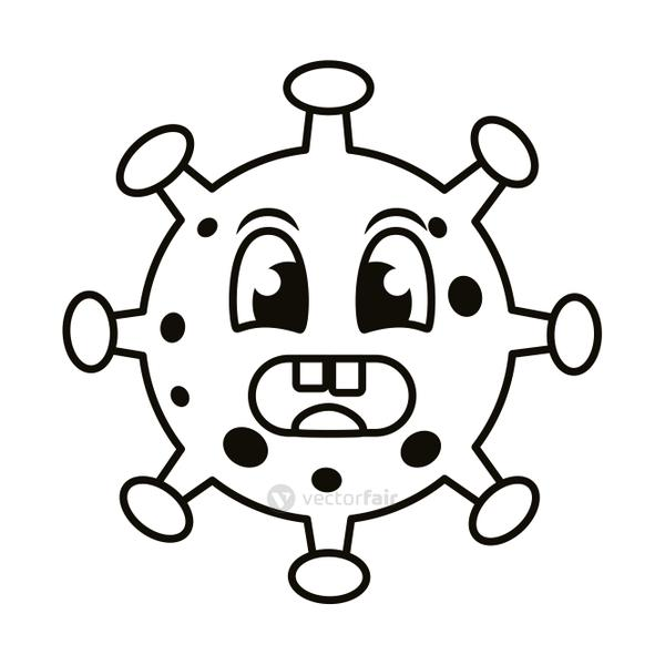 covid19 particle angry emoticon character