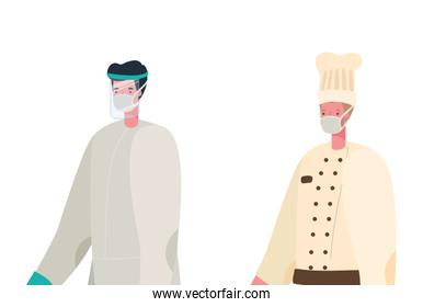 Chef man and doctor with protective suit and mask vector design