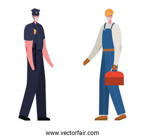 Male constructer and police with masks vector design