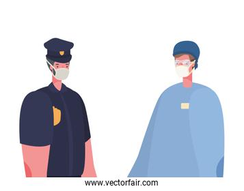 Isolated male doctor and police man with masks vector design
