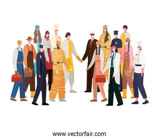 Men and women workers with masks vector design