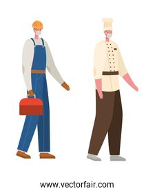 Male constructer and chef with masks vector design