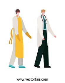 Isolated male doctor and cook with masks vector design