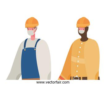 Male constructers with masks vector design