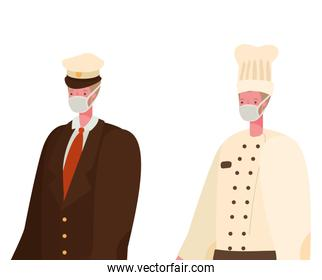 Male chef and captain with masks vector design