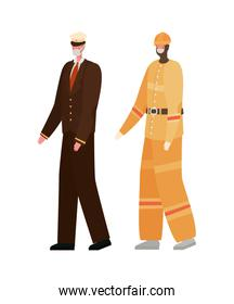Male constructer and captain with masks vector design