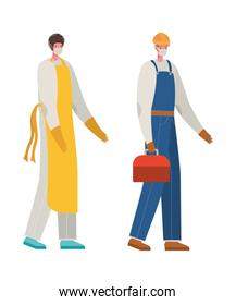 Male cook and constructer with masks vector design