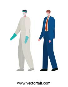Businessman and doctor with protective suit and mask vector design