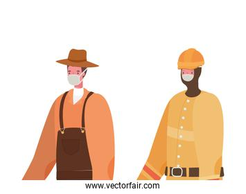 Male gardener and constructer with masks vector design