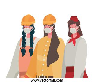 Female constructers and waitress with masks vector design