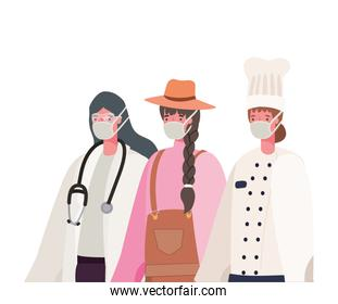 Female doctor gardener and chef with masks vector design