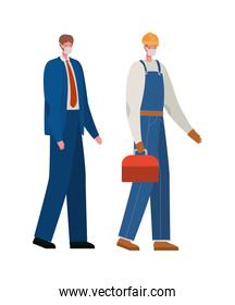 Male constructer and businessman with masks vector design