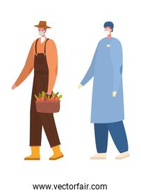 Isolated male doctor and gardener with masks vector design