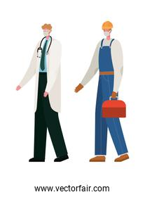 Isolated male doctor and constructer with masks vector design