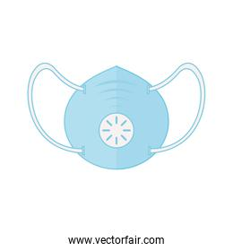 Isolated medical blue mask with respiratory system vector design