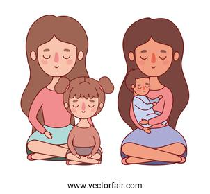Mothers with baby and daughter vector design