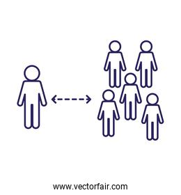Social distancing between avatars line style icon vector design