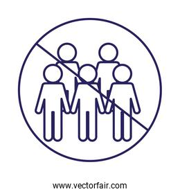 Ban on gathering people line style icon vector design