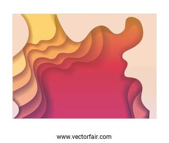 orange red and yellow waves background inside frame vector design