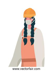 Female constructer with mask vector design