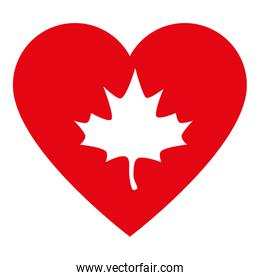 Canadian maple leaf inside heart of happy canada day vector design