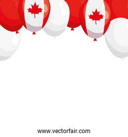 Canadian flag balloons of happy canada day vector design