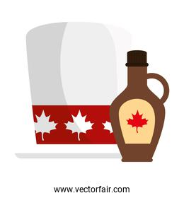 Canadian hat and maple syrup of happy canada day vector design