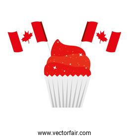Canadian cupcake with flags of happy canada day vector design