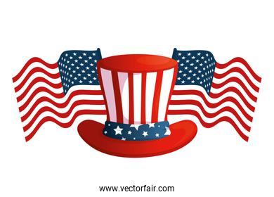 Isolated usa hat with flags vector design