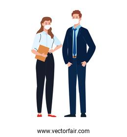 Female and male businesspeople with masks vector design
