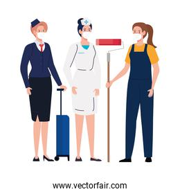 Female painter nurse and stewardess woman with masks vector design