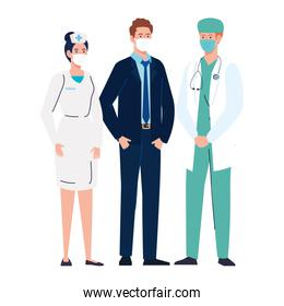 businessman doctor and nurse with masks vector design