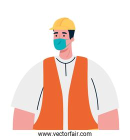 male constructer with mask vector design