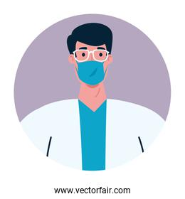 male doctor with mask vector design