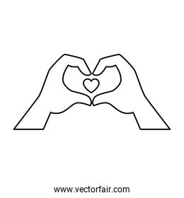 heart inside hands vector in line style