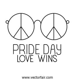 Isolated love and peace glasses and pride day vector design