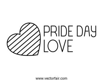Isolated pride day striped heart vector design