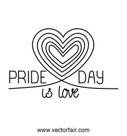 Isolated pride day striped heart vector illustration
