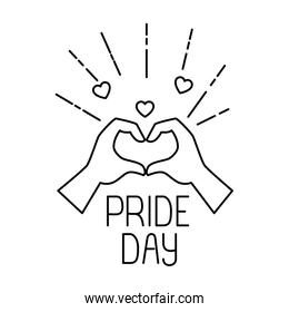 Isolated pride daywith  heart and  hands vector design