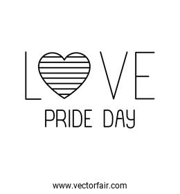 Isolated vove striped heart and pride day vector design