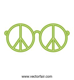 peace and love glasses vector design