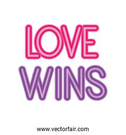 Isolated love wins vector design
