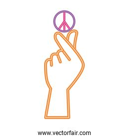 peace and love symbol over hand vector design