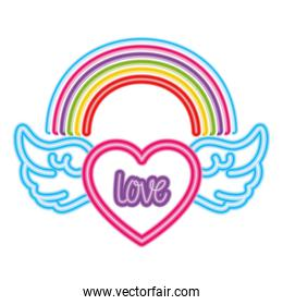 Isolated lgtbi rainbow and heart with wings vector design