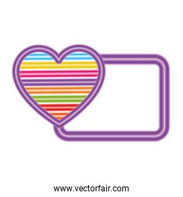 Isolated lgtbi striped heart and frame vector design