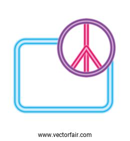 peace and love symbol in front of frame vector design