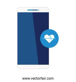 smartphone and heart pulse inside blue button vector design