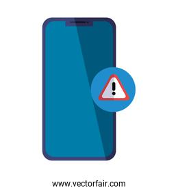 Isolated smartphone and warning banner vector design